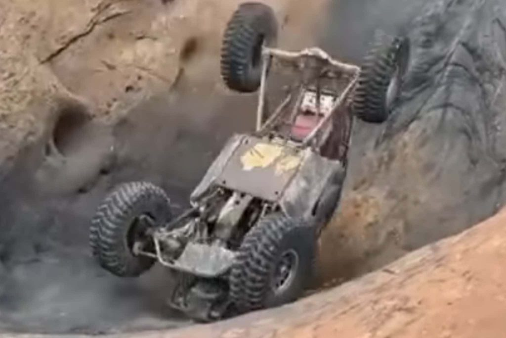 off-road buggy flipped in the devil's hot tub