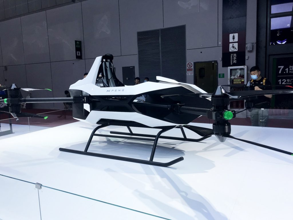An XPeng single-seat flying car on display at Auto Shanghai 2021 in April in Shanghai, China