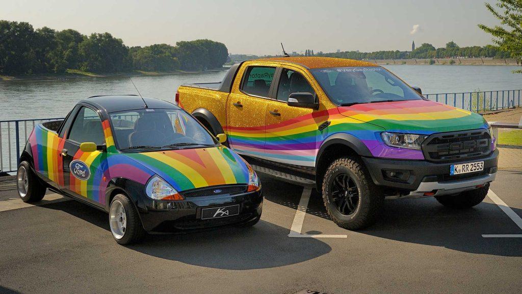 "Ford's ""Very Gay Ranger Raptor"" pickup with 1998 Ka pickup"