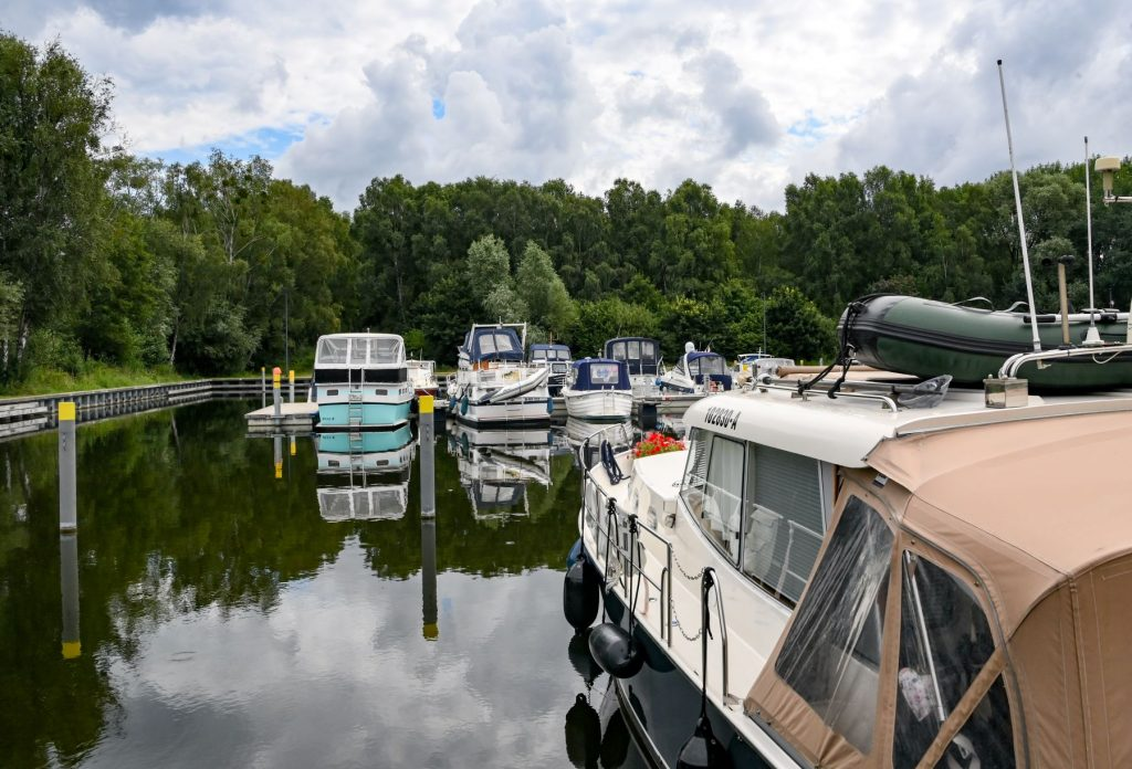 A harbor of boats powered by electricity in Brandenburg, Zehdenick