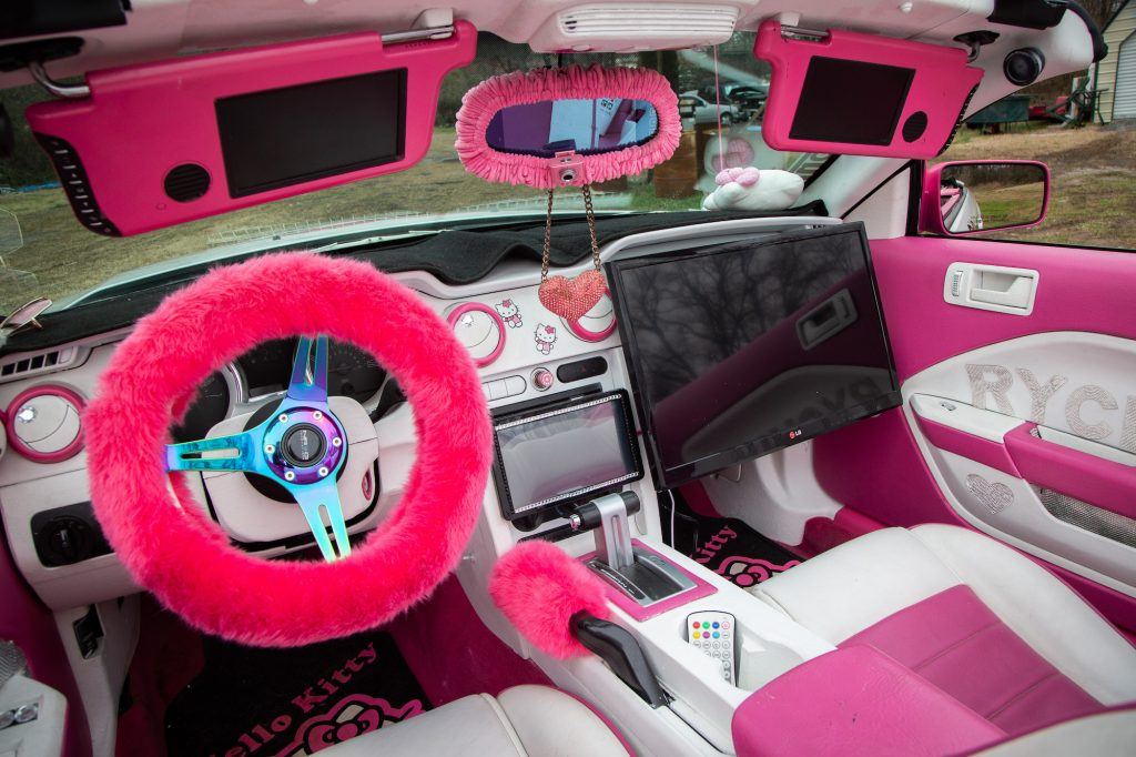 Pink decorations line the interior of the Hello Kitty Mustang, built by Nashville-native Takiyah Middleton