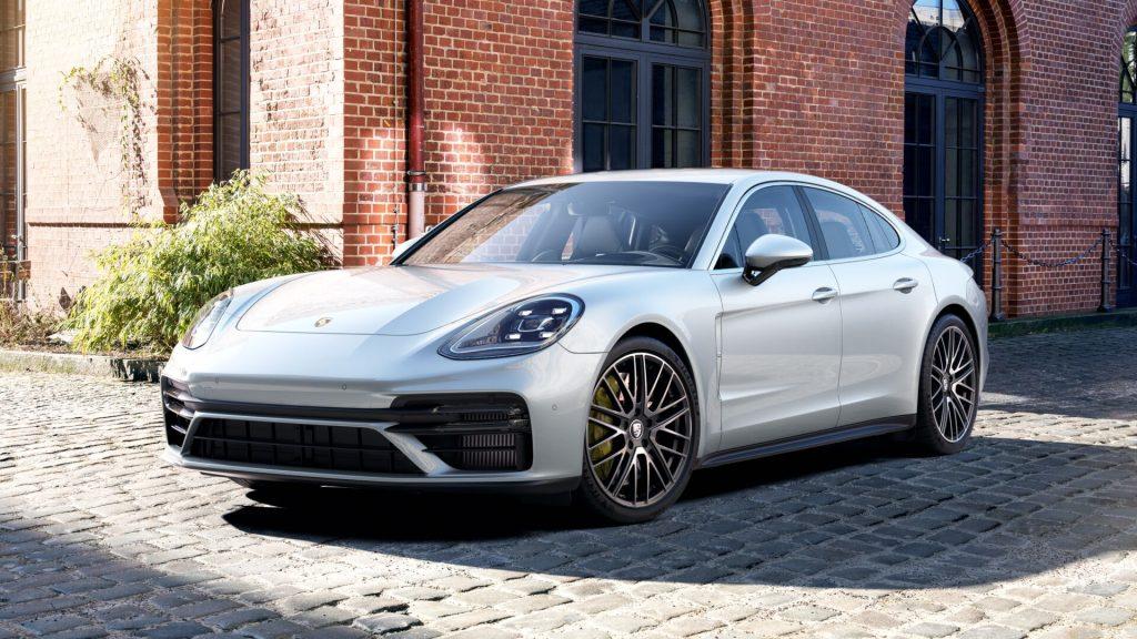 A 2021 Porsche Panamera parked in a courtyard