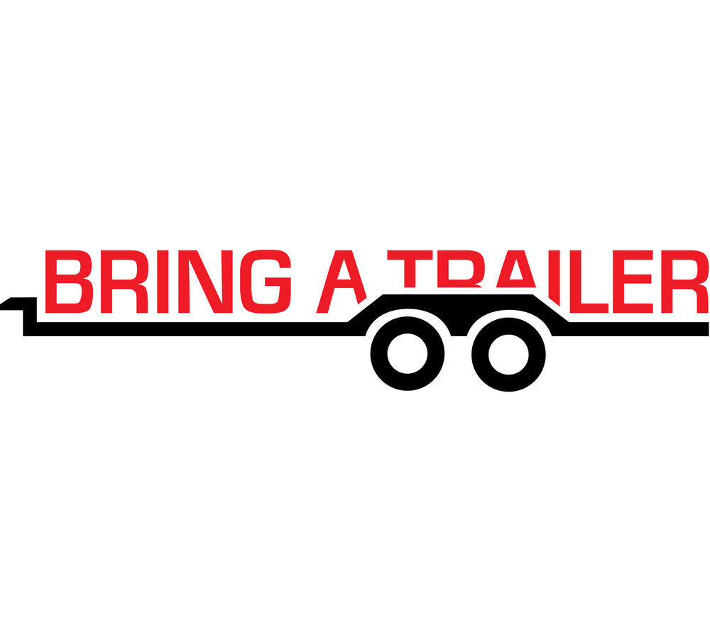 Bring a Trailer's red and black logo with a trailer motif