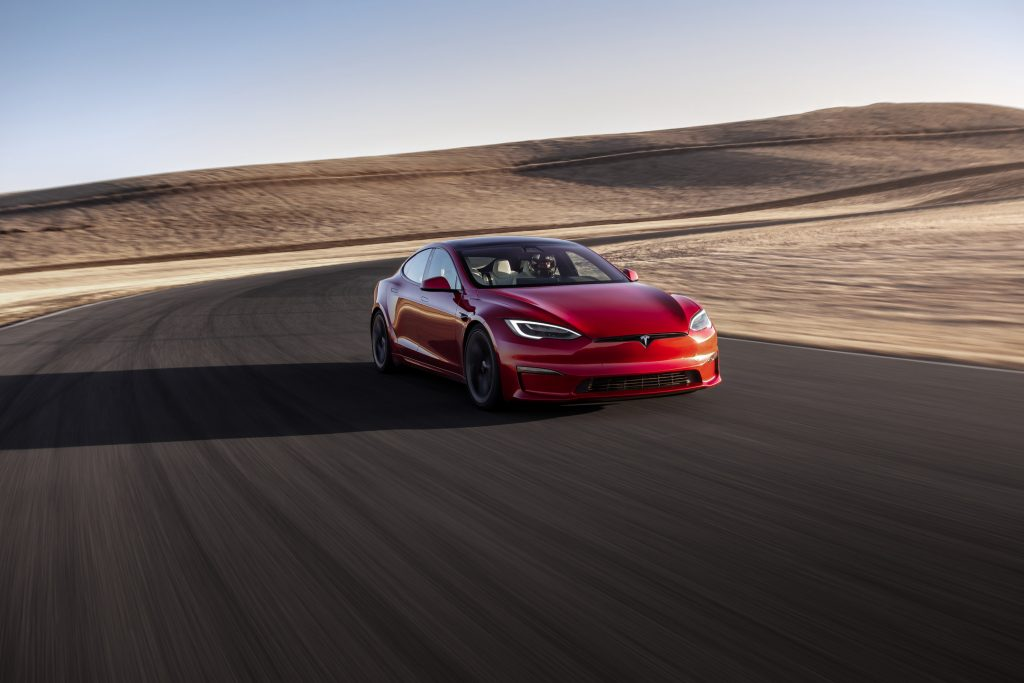The Tesla Model S Plaid on track in California