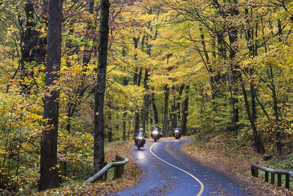 Motorcyclists travel the Mount Greylock Scenic Byway in rural Massachusetts
