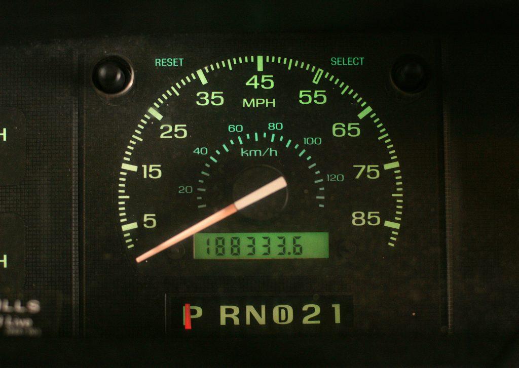 Mileage displayed on a vehicle's odometer