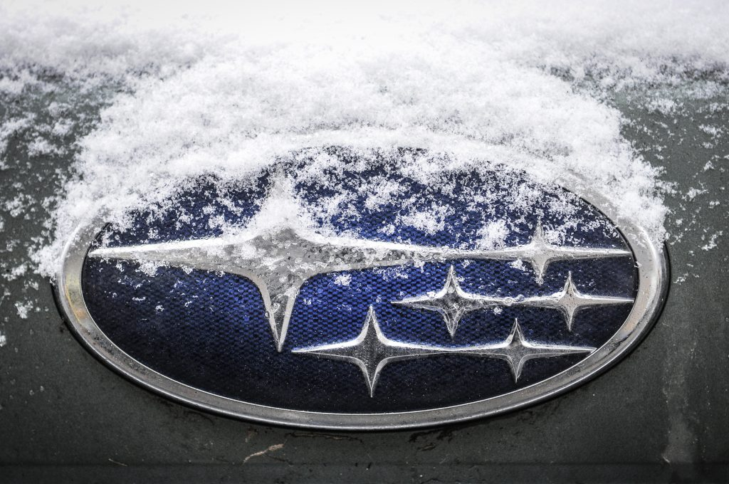a snowy subaru badge that will be one of the only things kept the same on the newly redesigned 2022 subaru brz