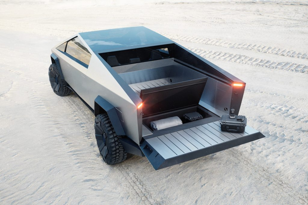 This is a publicity shot of the vault of the Tesla Cybertruck with a price under $40,000. The Ford Lightning offers similar value.