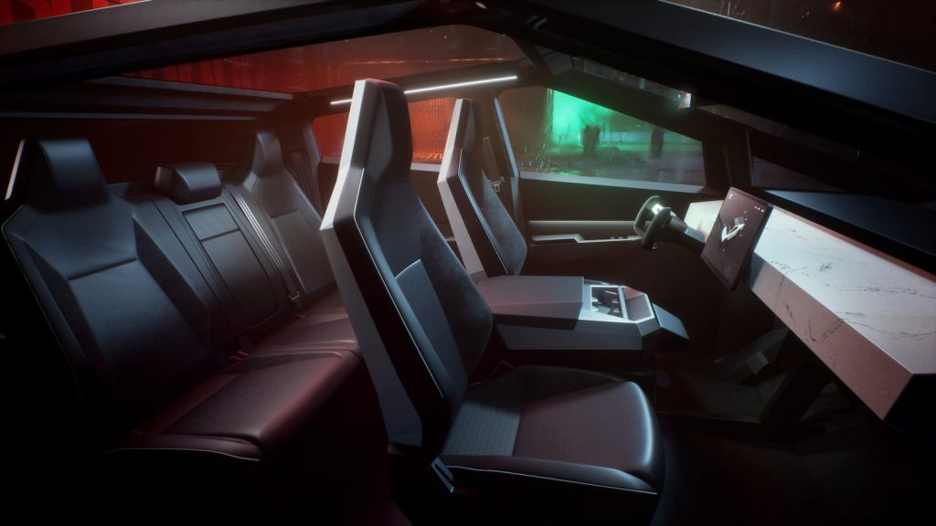 This is a promotional photo of the interior of the Tesla Cybertruck like you will find in the top-trim tri-motor.