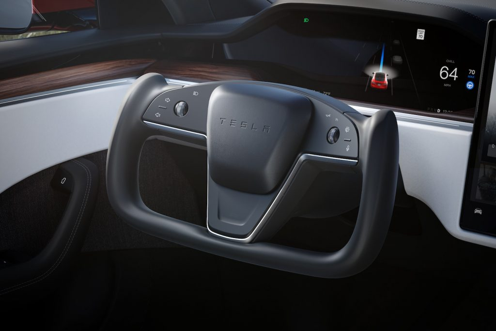 This is a steering yoke in a Tesla Model S Plaid, like Jay Leno owns. He loves his fast Tesla Model S Plaid, reviewers consider the $130,000 car a waste.