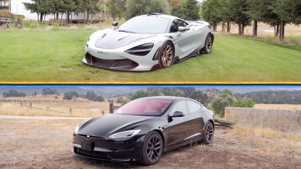A McLaren 720S races a Tesla Model S Plaid