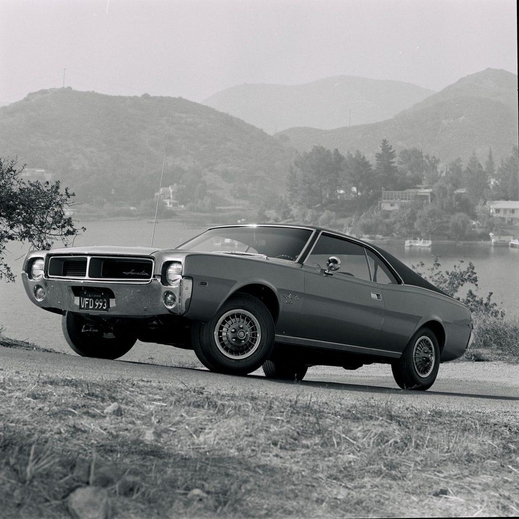 A 1968 AMC Javelin SST parked on a hill