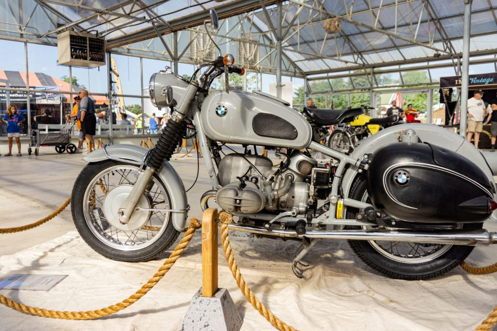 The left side view of a gray 1969 BMW R69S at IMS Outdoors Chicago 2021