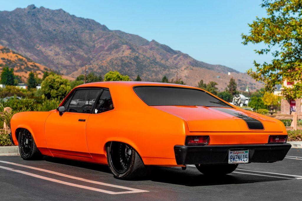 rear 3/4 ofEddie Van Halen's 1970 Chevy Nova