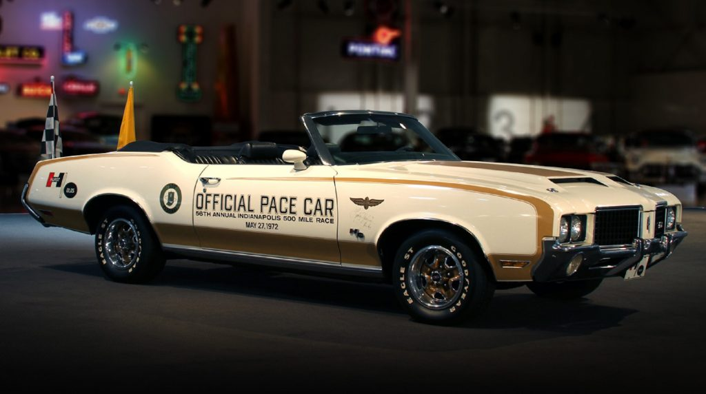 The white-and-gold 1972 Oldsmobile Cutlass Hurst/Olds Convertible Indianapolis 500 Pace Car