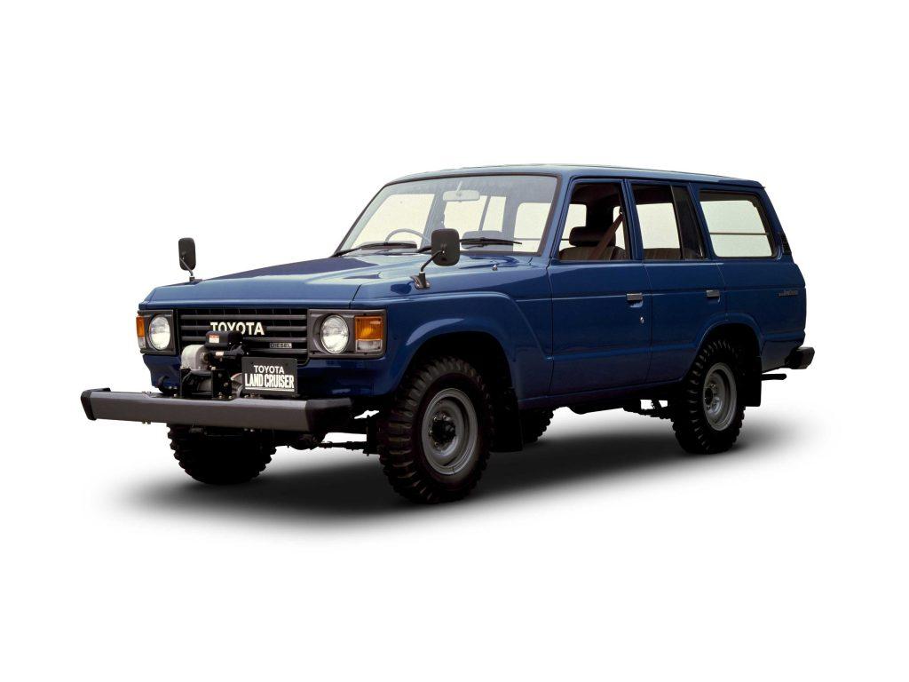 A dark-blue 1980 Toyota Land Cruiser FJ60 '60 Series'