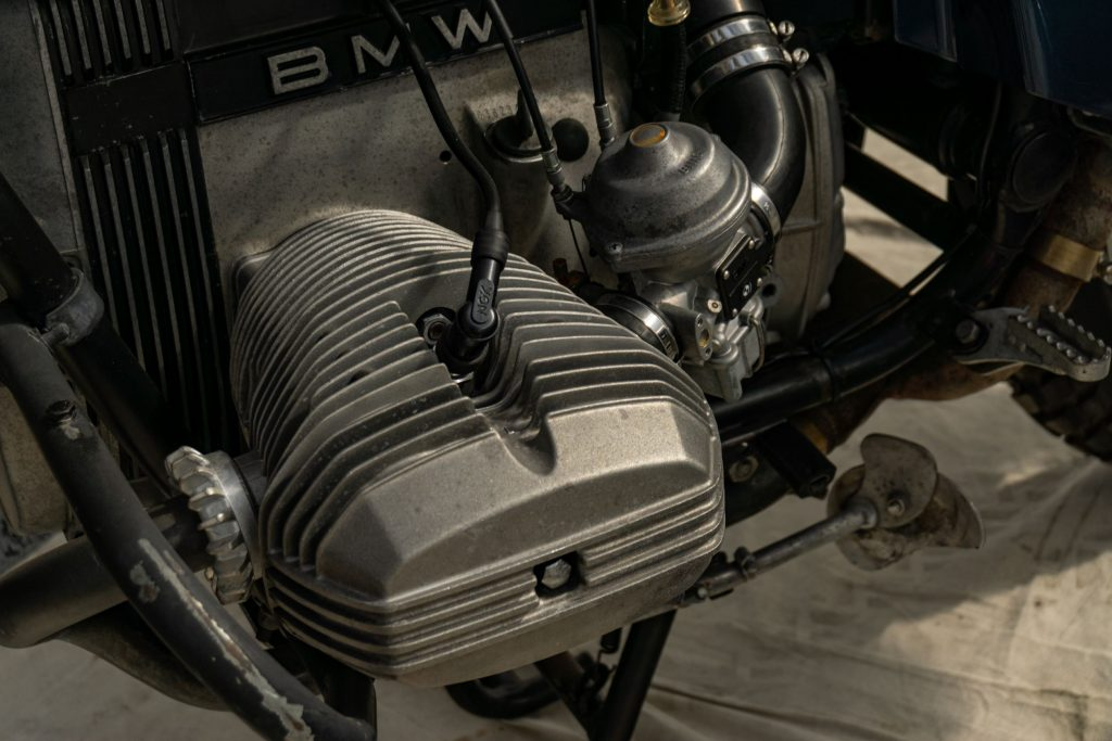 A closeup view of one 1983 BMW R80 G/S's cylinder heads