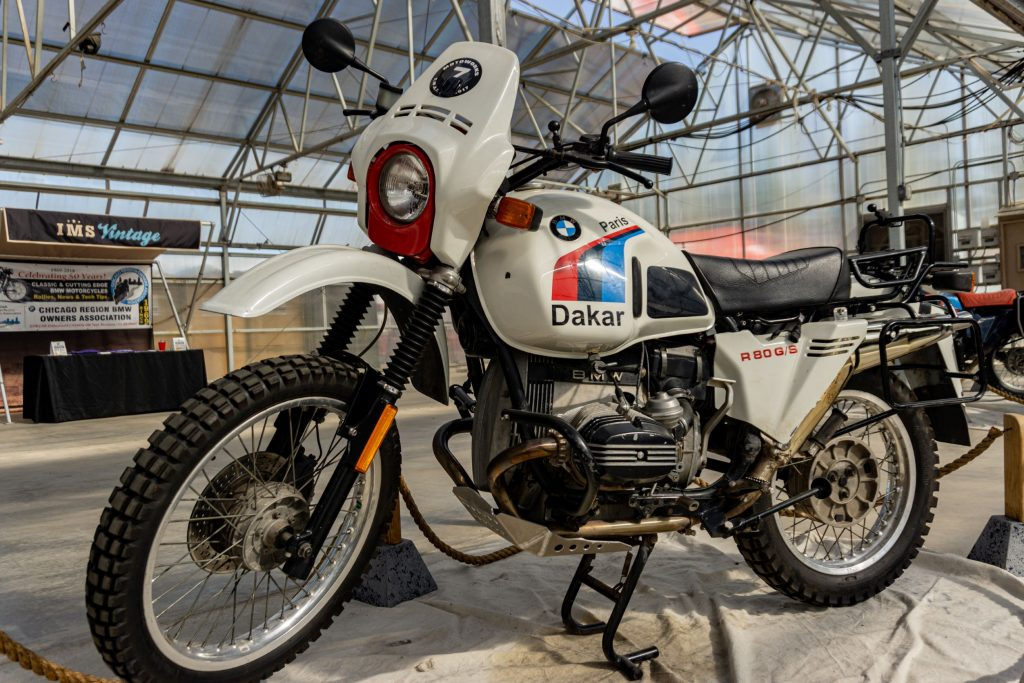 A white-blue-red-and-black 1987 BMW R80 G/S Paris Dakar at IMS Outdoors Chicago 2021