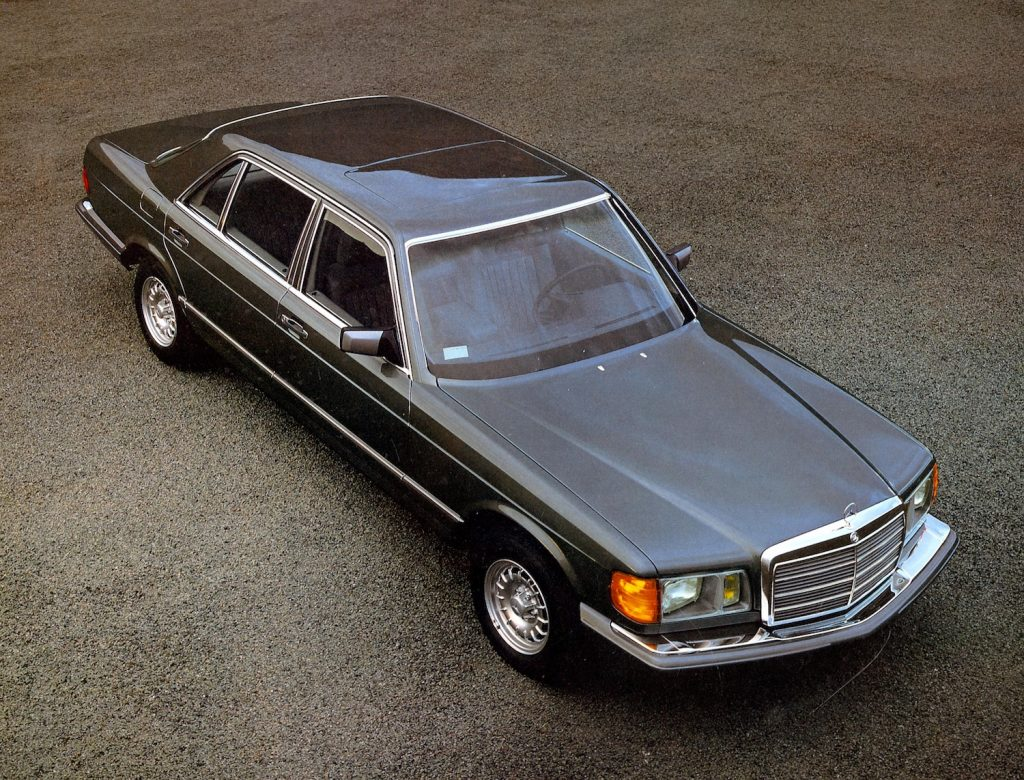 Vintage promotional photo of an American Mercedes-Benz 380 SEL model for the year 1982. In Cry Macho, the character of Clint Eastwood walks away in a 380 SEL at the end of the film.  |  Daimler Company