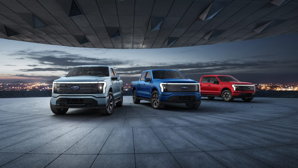 These are the F-150 Lightning electric truck prototypes. See how they stack up to the Tesla Cybertruck and the GMC Hummer EV