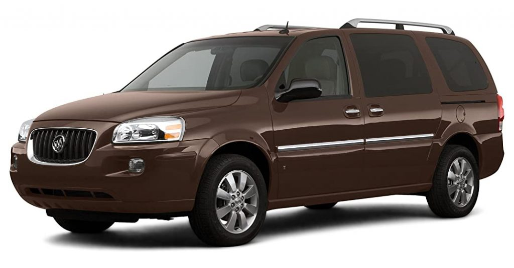 A brown 2007 buick terraza minivan