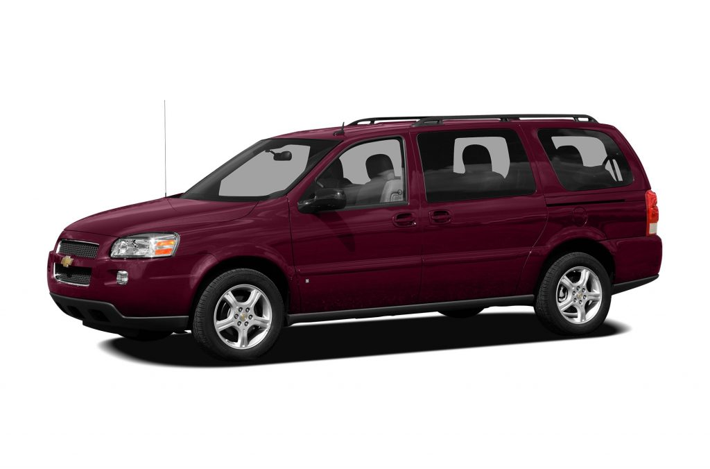 A maroon 2007 chevrolet uplander minivan
