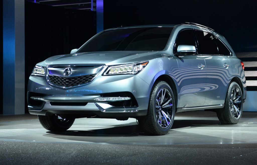 A light-blue metallic 2013 Acura MDX at the 2013 North American International Auto Show in Detroit, Michigan