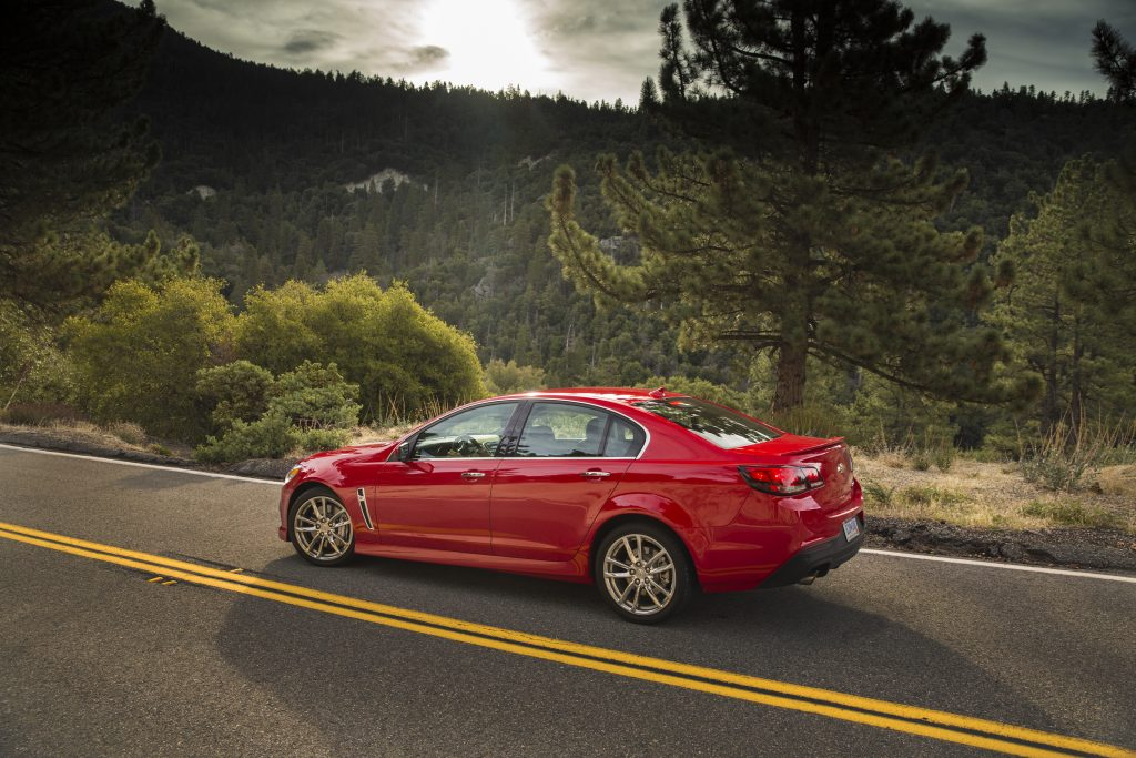 A red 2015 Chevrolet SS on a Colorado back road