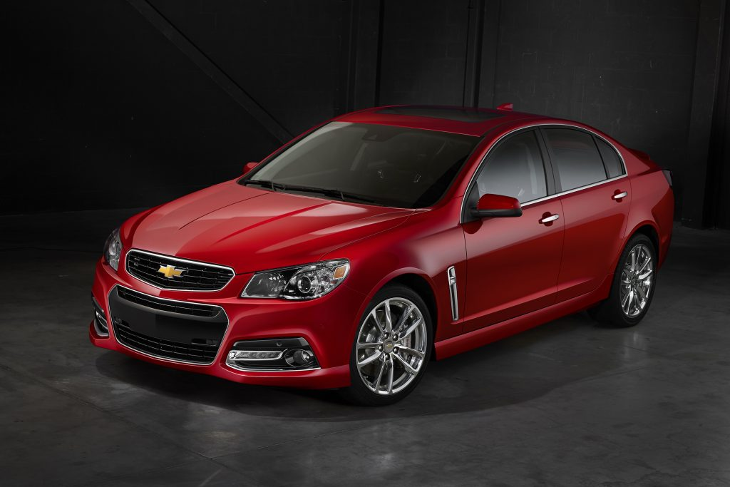 A red Chevrolet SS shot from the high 3/4 front angle