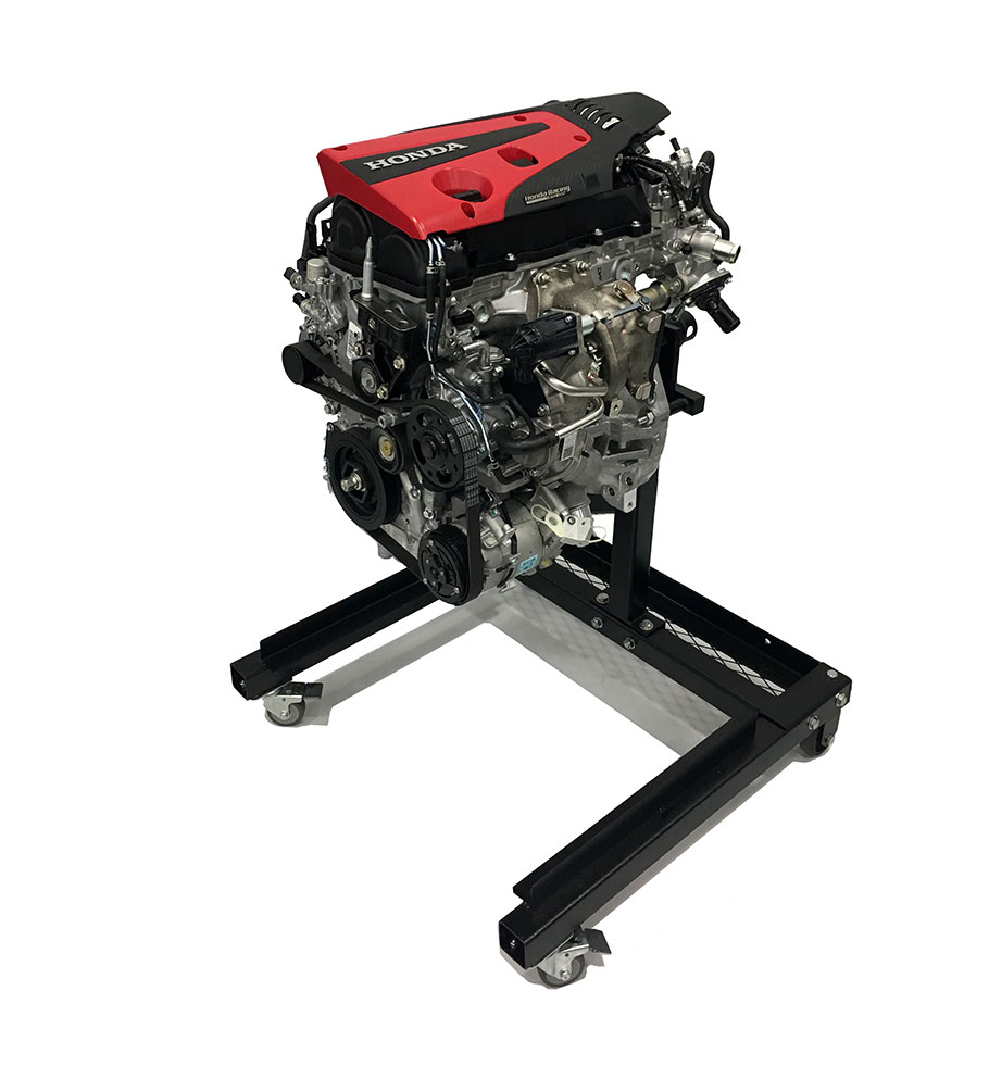 The motor from the Honda Civic Type R: The K20C1 on an engine stand