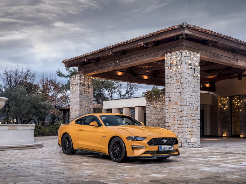 2018 Ford mustang in orange