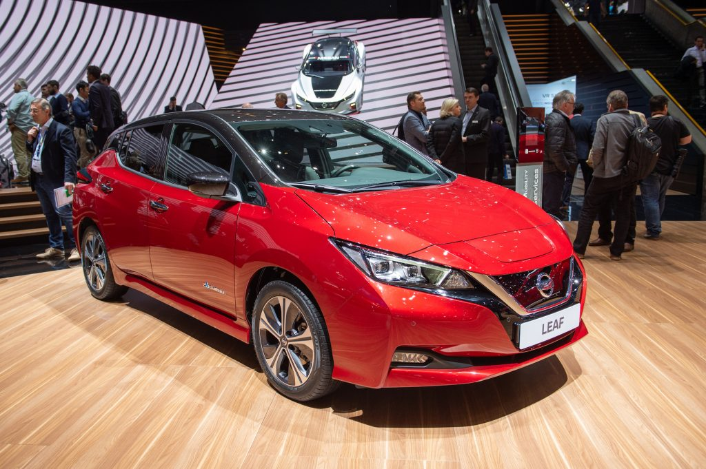 A red 2019 Nissan Leaf EV on display at the 89th Geneva International Motor Show in March 2019 in Switzerland