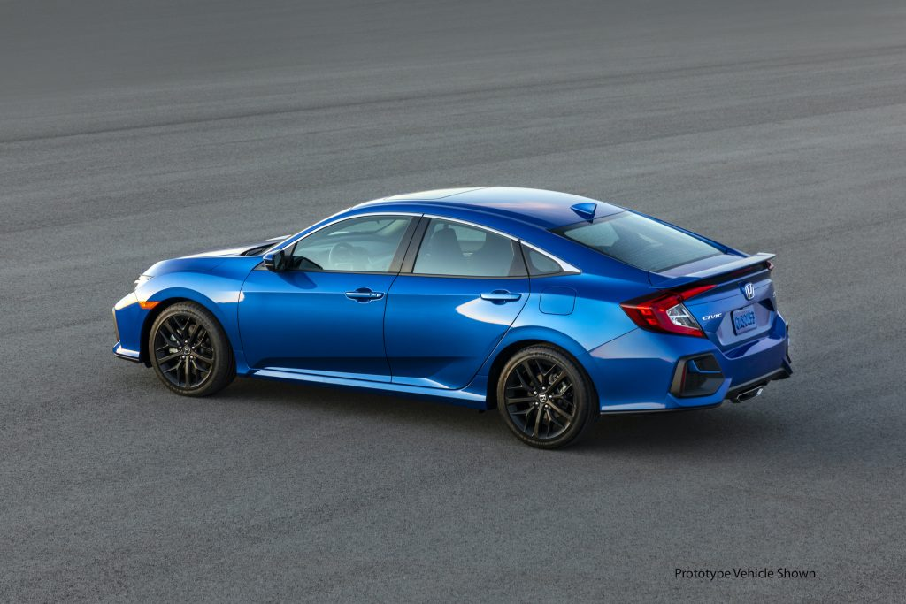2020 Honda Civic Si Sedan parked and shown in blue