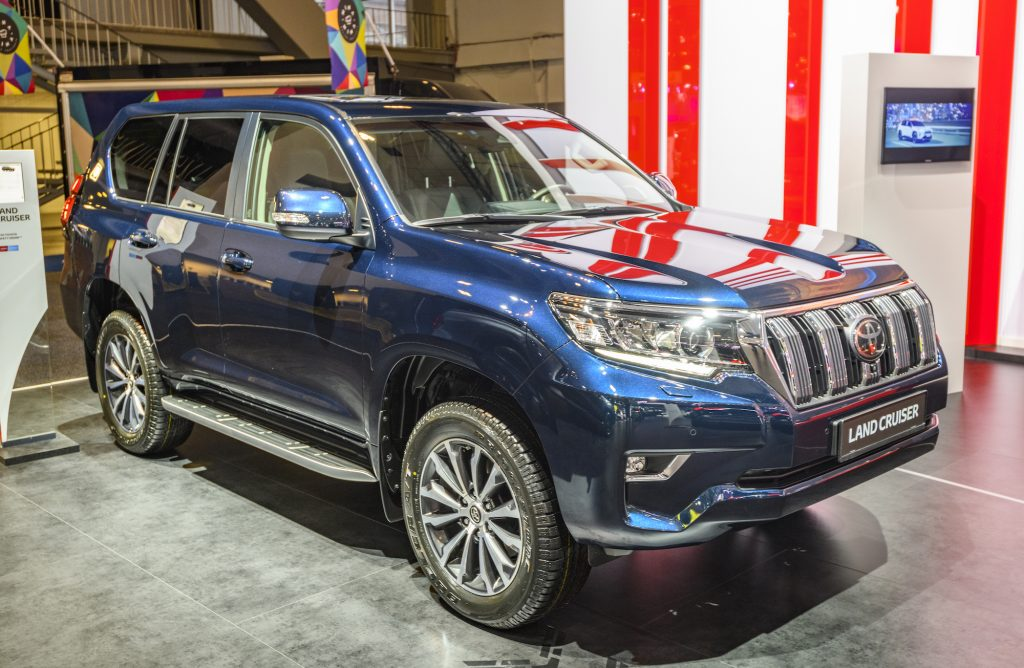 A blue 2020 Toyota Land Cruiser off-road SUV on display at the 2020 Brussels Expo in Belgium