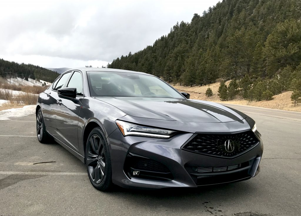 A front shot of the 2021 Acura TLX A-Spec next to a mountain for our full review