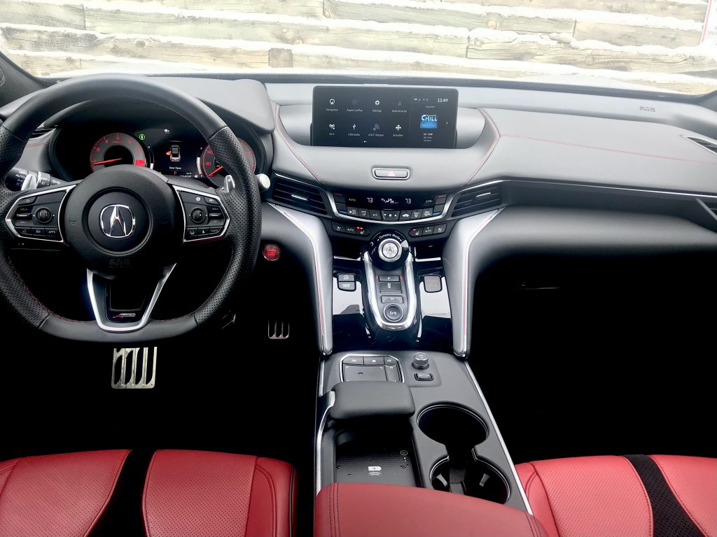 An interior shot of the 2021 Acura TLX A-spec for our full review