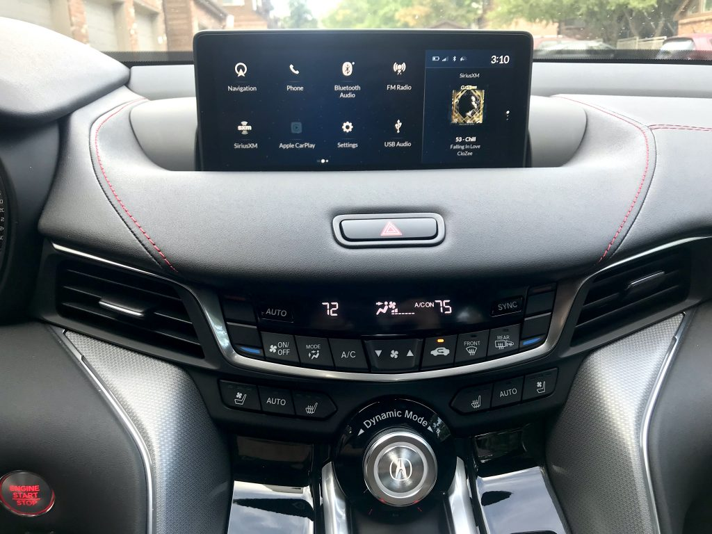 A picture of the infotainment system on the 2021 Acura TLX A-Spec