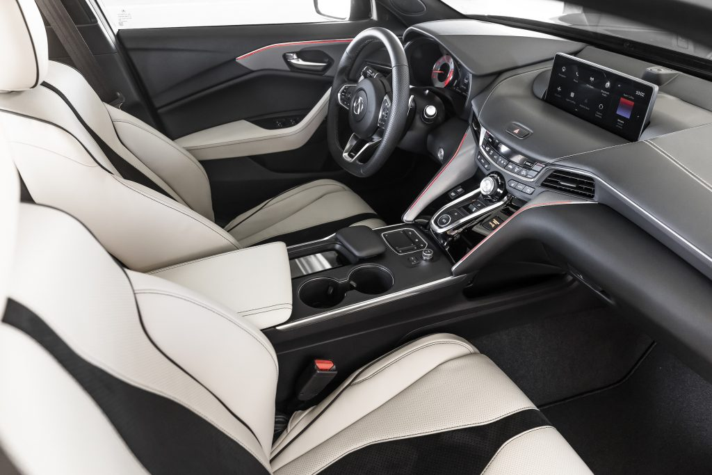 The black and white interior layout on a 2021 Acura TLX Type S