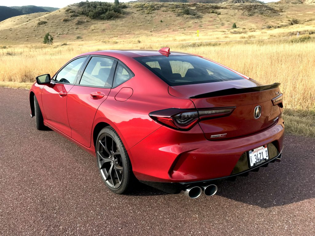 A rear three-quarter shot of the 2021 Acura TLX Type S for our review