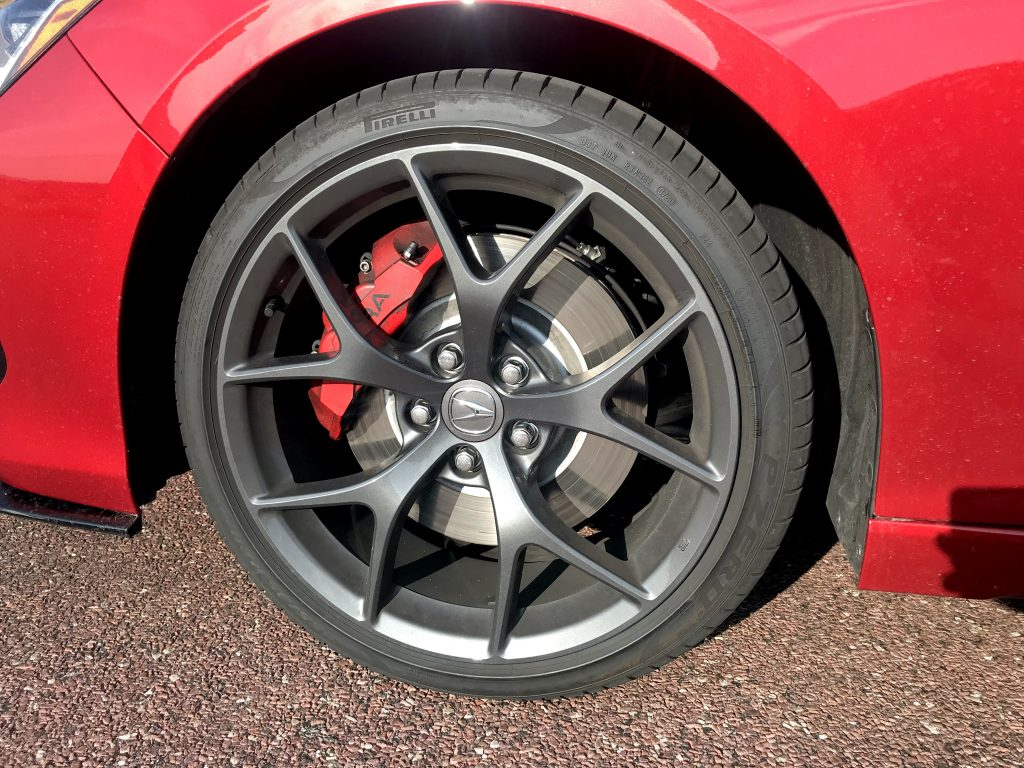 A close-up shot of the 20-inch wheel on the 2021 Acura TLX Type S