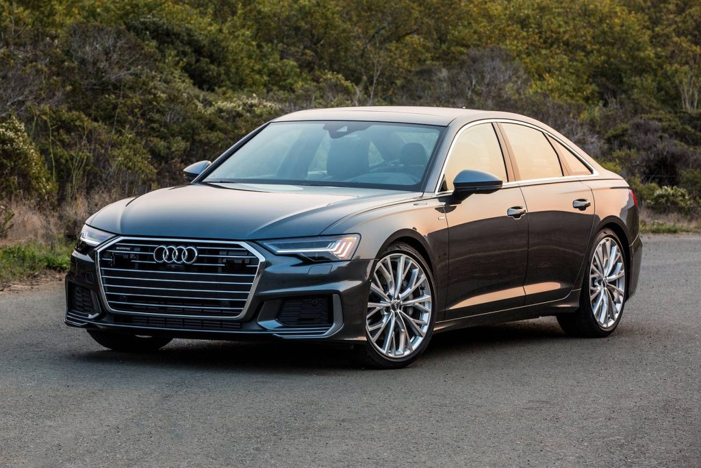 A black 2021 Audi A6 parked outside during the day
