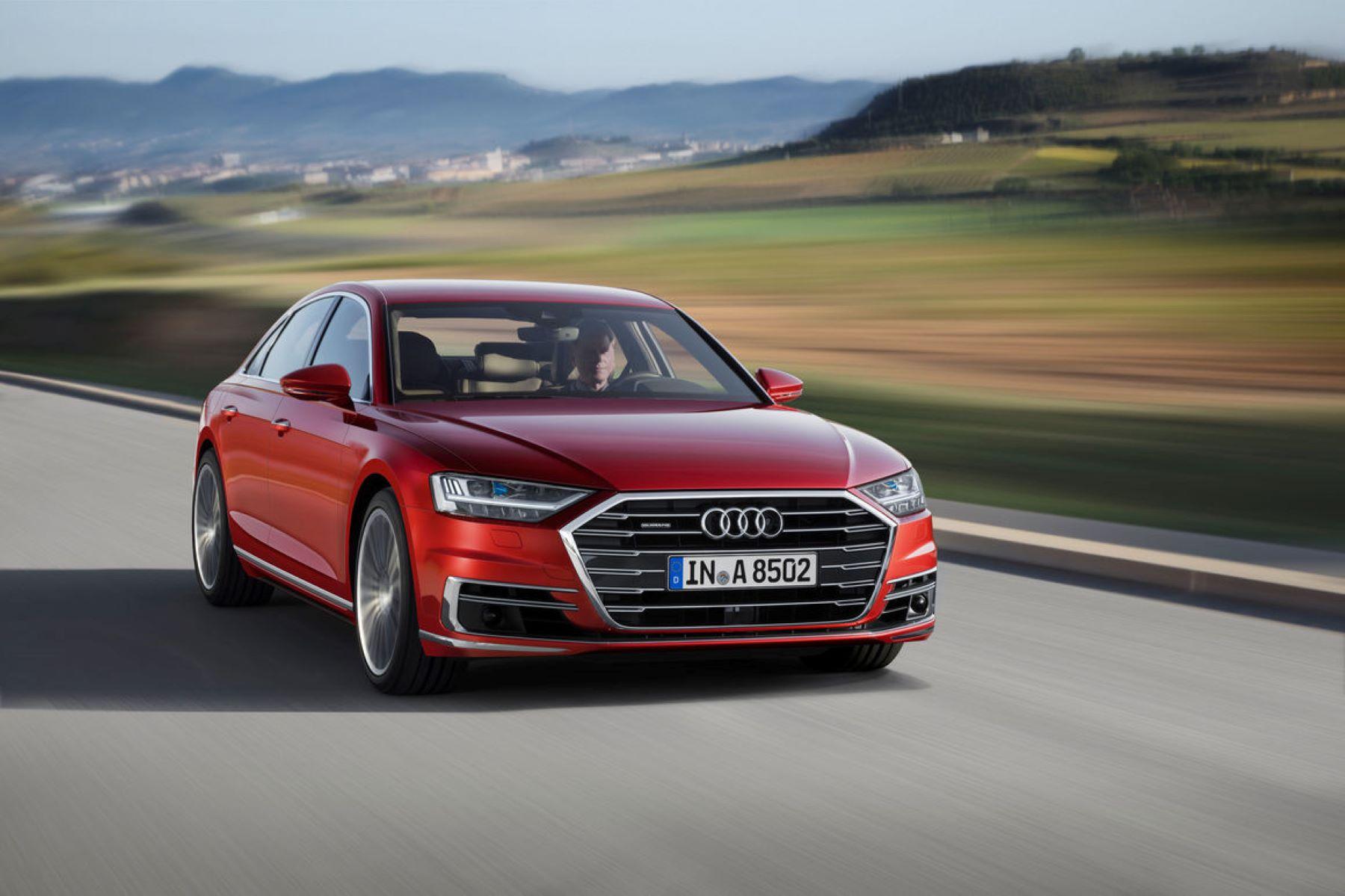 The 2021 Audi A8 sedan model in red
