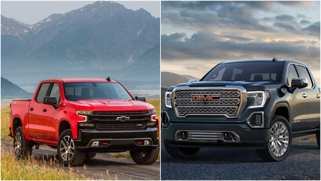 A 2021 Chevy Silverado and a 2021 GMC Sierra facing each other in a photo collage