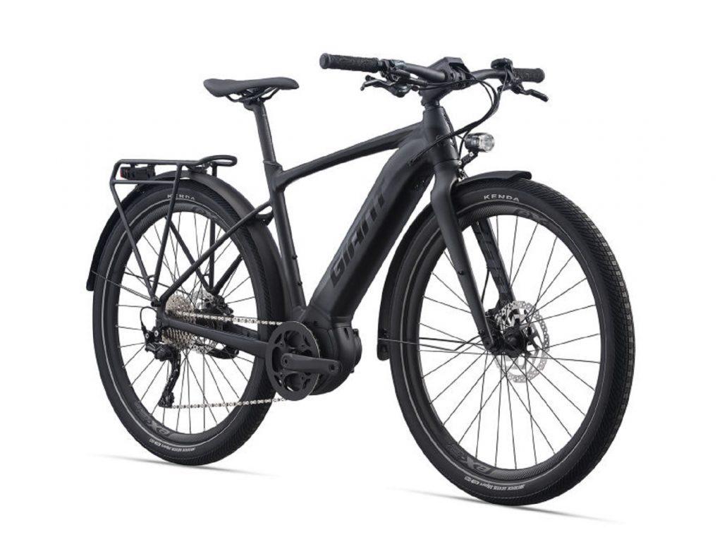 A matte-black 2021 Giant FastRoad E+ EX Pro