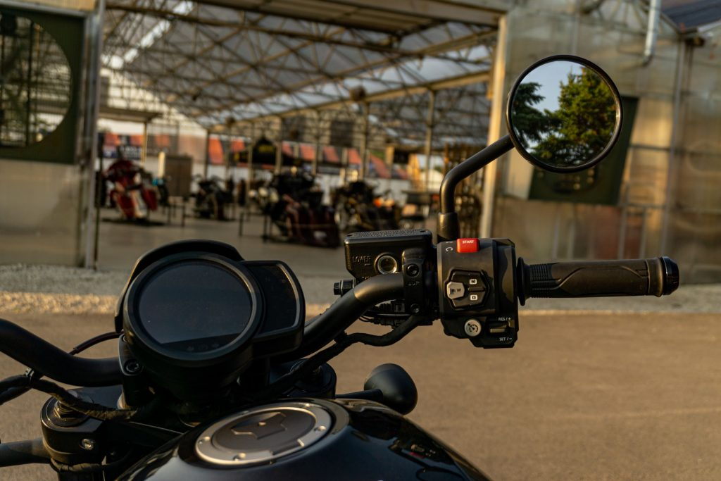 The right handlebar controls and LCD gauge on a black 2021 Honda Rebel 1100 DCT