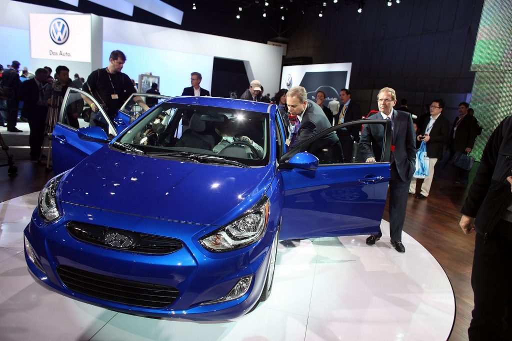 A 2012 Hyundai Accent on display at the 2011 New York International Auto Show