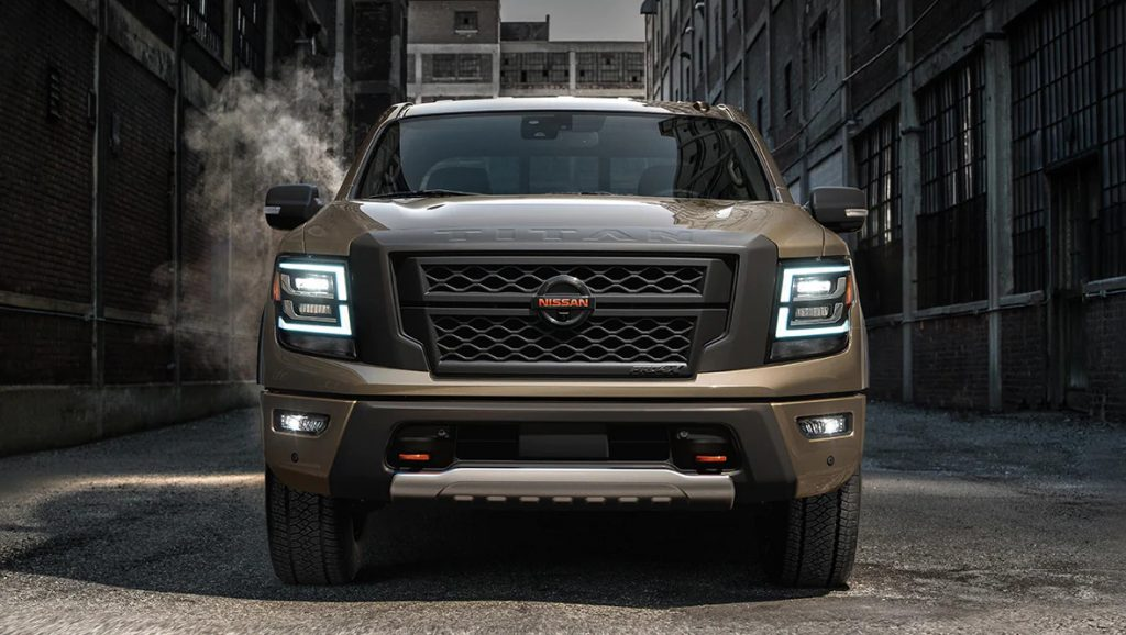 brown 2021 Nissan Titan front grille view