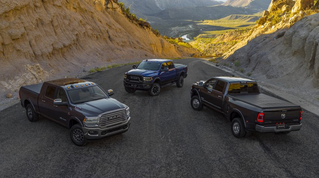 The 2021 Ram Heavy Duty lineup in the mountains