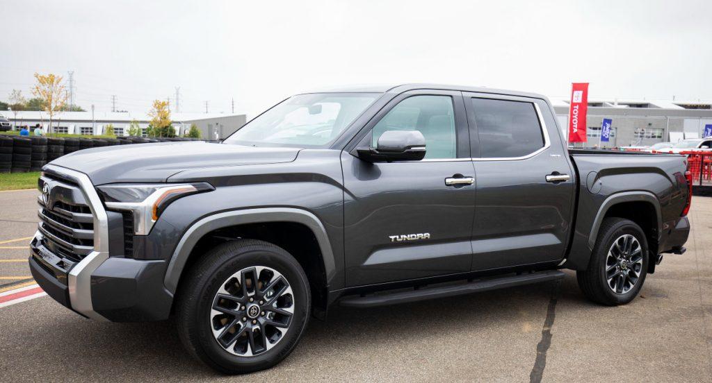 A gray 2022 Toyota Tundra  pickup truck.