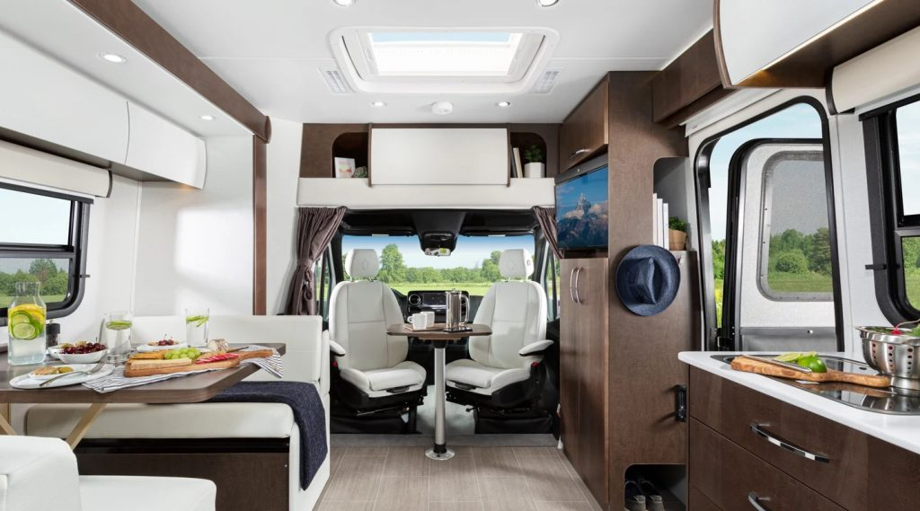 The interior of the Unity , one of the best small RVs for couples